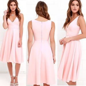 Peach baby pink wedding guest midi dress XS